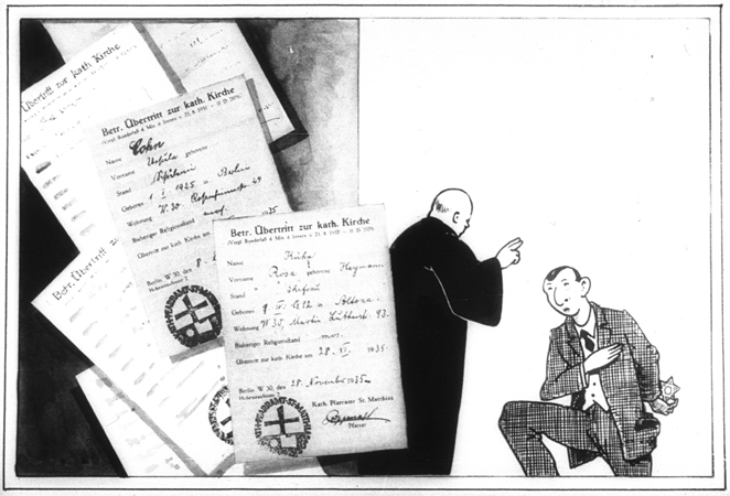 """Propaganda slide pertaining to the issue of converting to Catholicism.  One image from a slide lecture produced by """"Der Reichsfuehrer SS, der Chef des Rasse-und Siedlungshauptamtes"""" [the Leader of the SS, the Chief of the Race and Settlement Main Office]. The slide lecture, entitled """"Das Judentum, seine blutsgebundene Wesensart in Vergangenheit und Gegenwart"""" [Jewry, Its Blood-based Essence in Past and Future], is Part I of the thematic series, """"Judentum, Freimaurerei, Bolschewismus"""" [Jewry, Freemasonry, Bolshevism]. The text of the slide lecture is available at the Bundesarchiv Koblenz, record group number NS31/163.  (Source:  USHMM )"""
