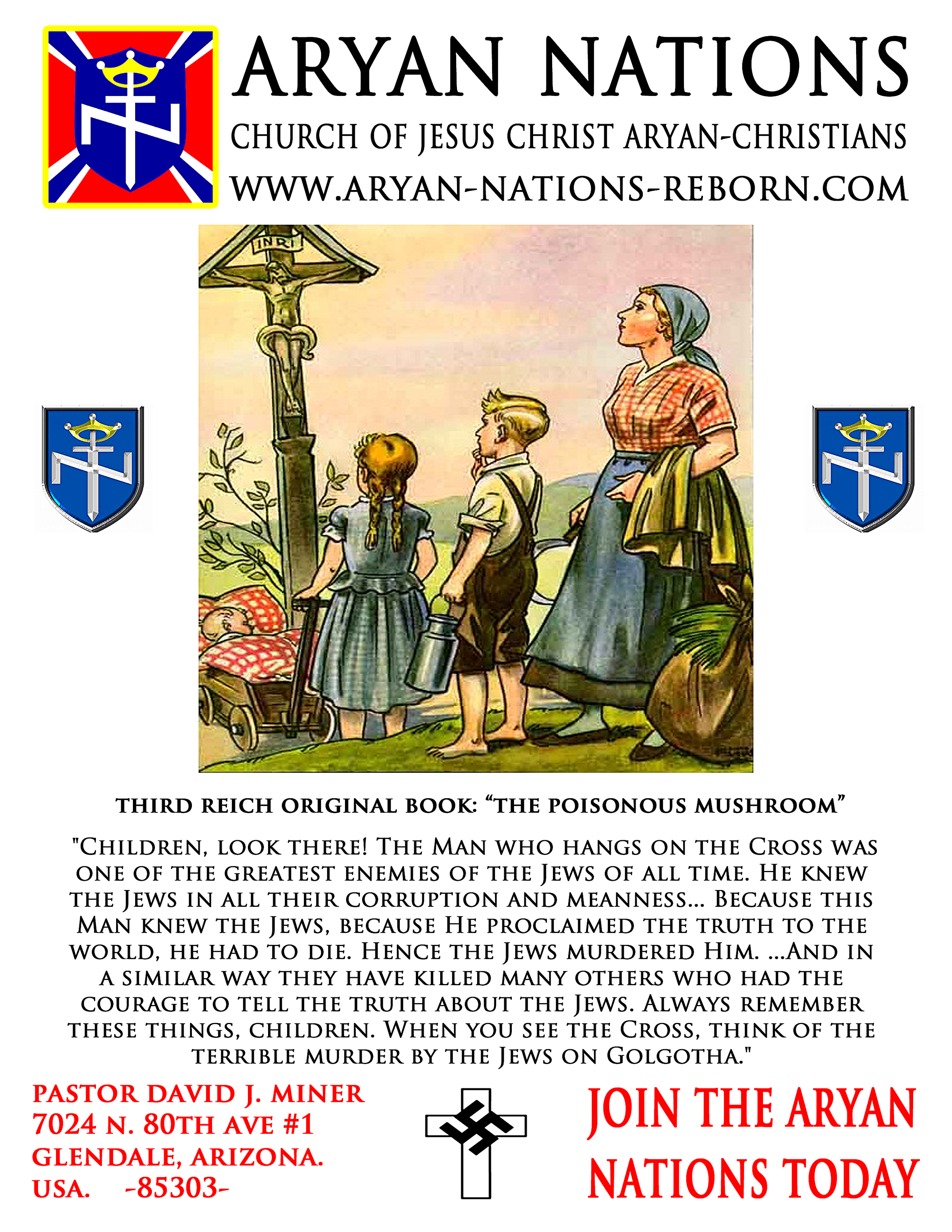 """When you see a cross   Page from the German children's book, """"Der Giftpilz"""" (The Poisonous Mushroom)  The text reads, """"When you see a cross, then think of the horrible murder by the Jews on Golgotha...""""  (see 1 Thessalonians 2:14-15, """"...the Jews: Who both killed the Lord Jesus, and their own prophets, and have persecuted us; and they please not God, and are contrary to all men"""")   (Source:  USHMM )"""