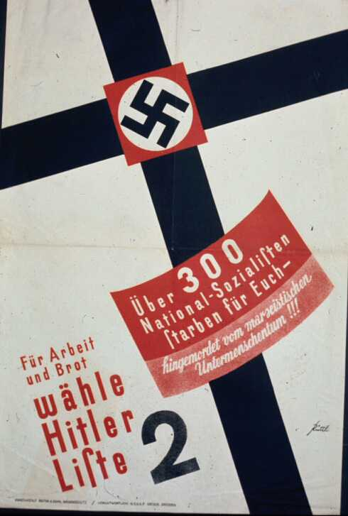 """Nazi Election Poster   From the July 1932 Reichstag election. The text translates as: """"Over 300 National Socialists died for you — murdered by Marxist subhumanity!!! For work and food vote Adolf Hitler List 2."""" The reference is to Nazis killed during the political battles on the streets and in political meetings. The Christian imagery is clear. Courtesy of Dr. Robert D. Brooks.  (Graphic and text source:  German Propaganda Archive )"""
