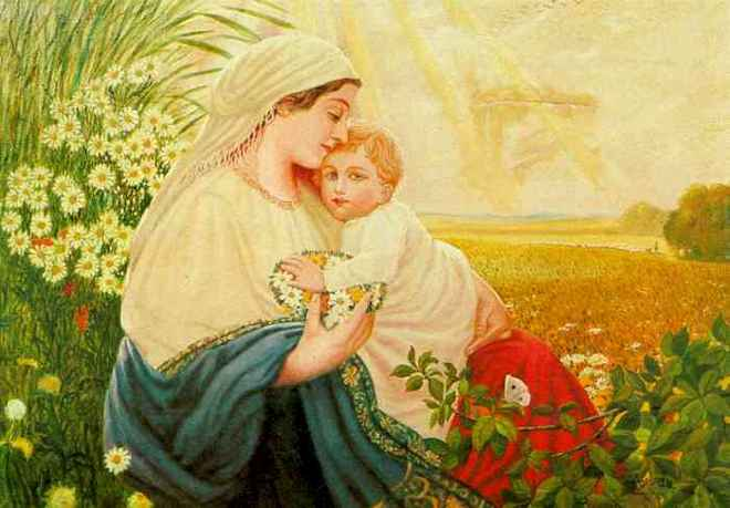 """Mother Mary with the Holy Child Jesus Christ,  Oil/canvas, 1913  by Adolf Hitler  (Source:  Two Austrians, An """"artist"""" and a """"house painter"""" )  Observe that Jesus looks like a blond haired Aryan. Hitler did not believe that Jesus was a Jew [1]."""