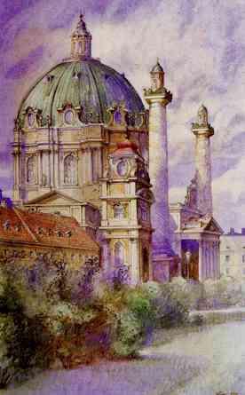 "Karls-Church, Vienna , Aquarell, 1912, by Adolf Hitler  (Source:  Two Austrians, An ""artist"" and a ""house painter"" )"