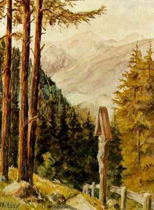 """Mountain scene with wayside cross , 1923 - 1925, by Adolf Hitler  (Source:  Two Austrians, An """"artist"""" and a """"house painter"""" )"""
