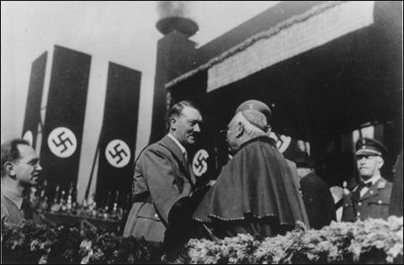 Hitler greets a Catholic Cardinal (Source:  USHMM )