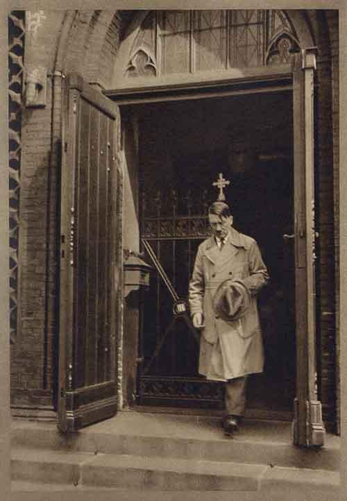 Hitler leaving Church   Hitler leaves the Marine Church in Wilhelmshaven.  (Source:  The German Propaganda Archive )