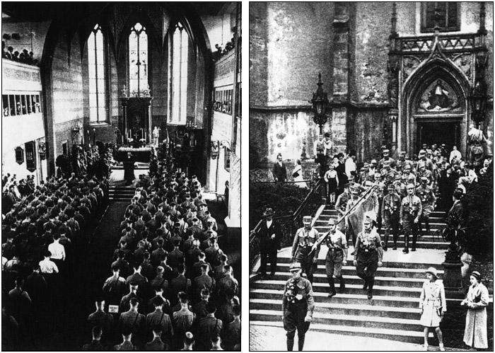 Hitler's Brown Army attending and leaving church services. These photos were published by Germans during Hitler's Rise.  (Source: Das Braune Heer: mit einem Geleitwort von Adolf Hitler [Translation: The Brown Army: with a foreword by Adolf Hitler], Photos by Heinrich Hoffmann)