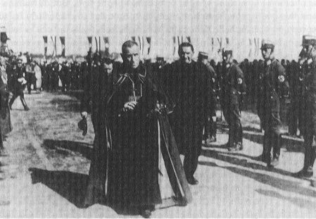 An Archbishop with the Nazis   Archbishop Cesare Orsenigo, head of the Diplomatic Corps, attending the Nuremburg Party Rally in September 1933.   According to Dr. Paul O'Shea, Orsenigo, as Dean of the Corps, it was the Nuncio's role to lead the Corps at all major government functions. After 1935 Orsenigo did not attend major government propaganda displays.  (Photo source:  A Moral Reckoning: The Role of the Catholic Church in the Holocaust and Its Unfulfilled Duty of Repair  by Daniel Jonah Goldhagen) [Note, Goldhagen incorrectly attributes this photo to Cardinal Faulhaber.]