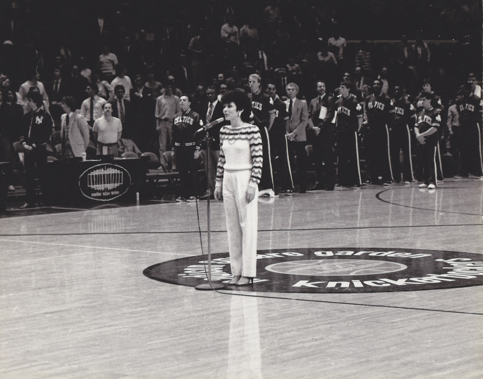 Ellen Hart Sturm singing the National Anthem at Madison Square Garden before the start of the New York Knicks vs Boston Celtics game.