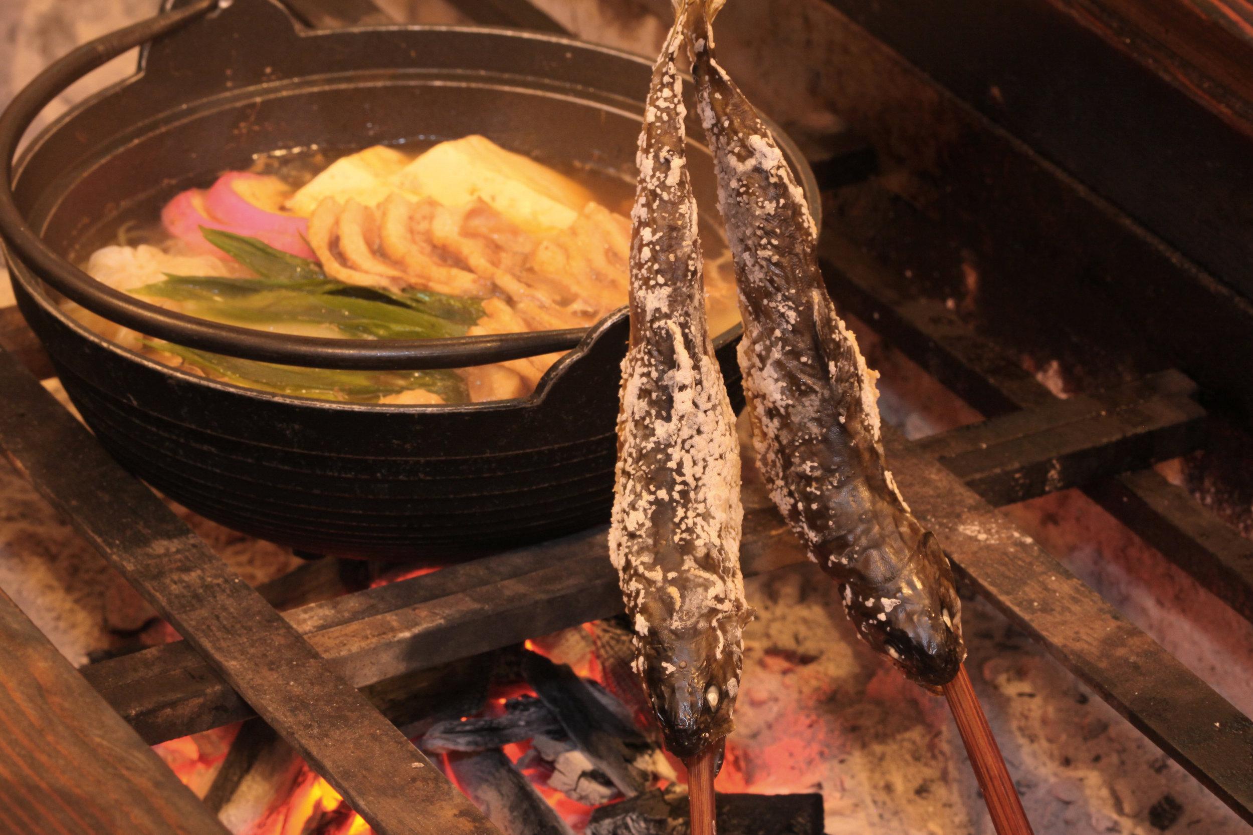 Mitsuru Okunada - 鴨鍋、岩魚塩焼き.jpg