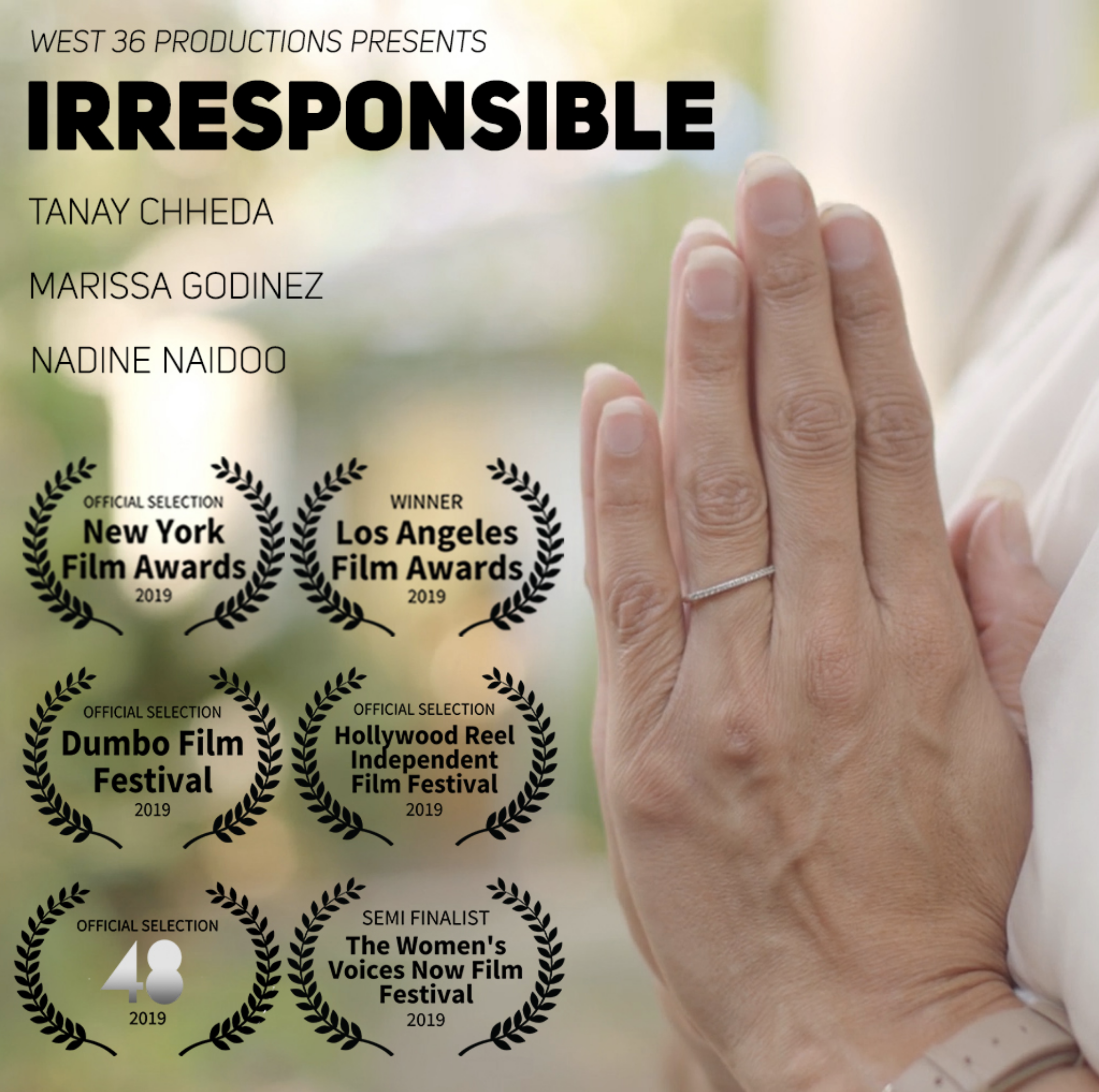 Irresponsible (2019) - Winner of the LA and NY Film Awards, along with US and international selections, Irresponsible is about a poet, and an ambitious pop star who challenge each other on contemporary feminism. What starts as a polar confrontation transforms into a journey of self discovery. Rohit's childhood upbringing and tumultuous relationship with his single mom put him on the cross roads of commerce and art.Watch on Amazon Prime Video ➝