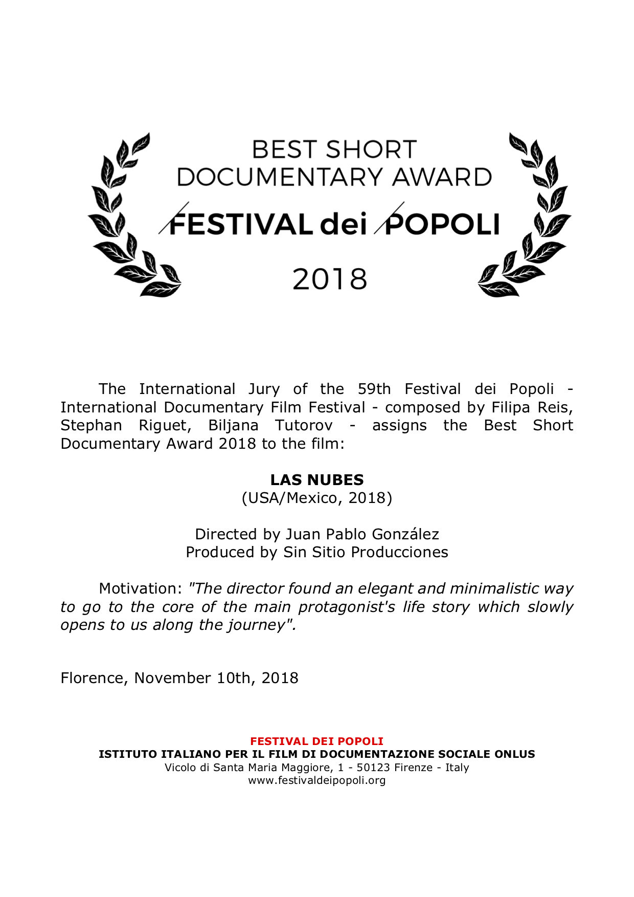 Best Short Documentary Award to LAS NUBES.jpg