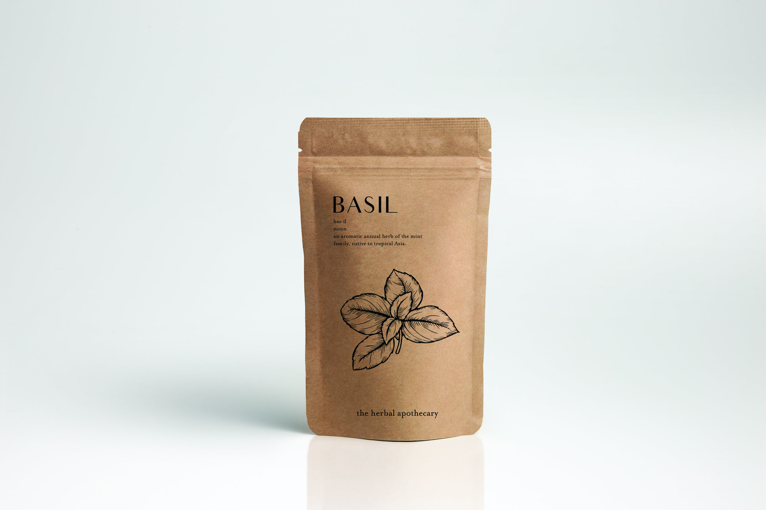 Basil pre-packaged herb pouch