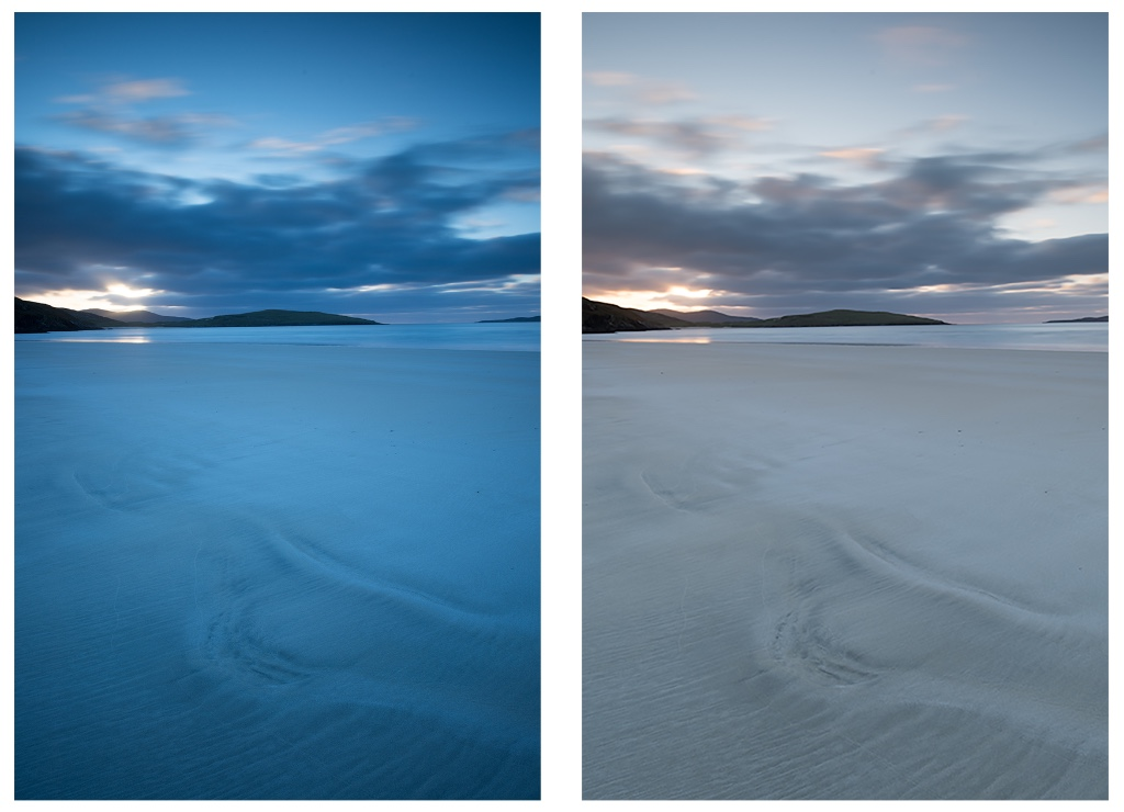 Both images using 0.9 soft ND Grad, left image Big Stopper and right image Pro Glass,10 stop. RAW files.