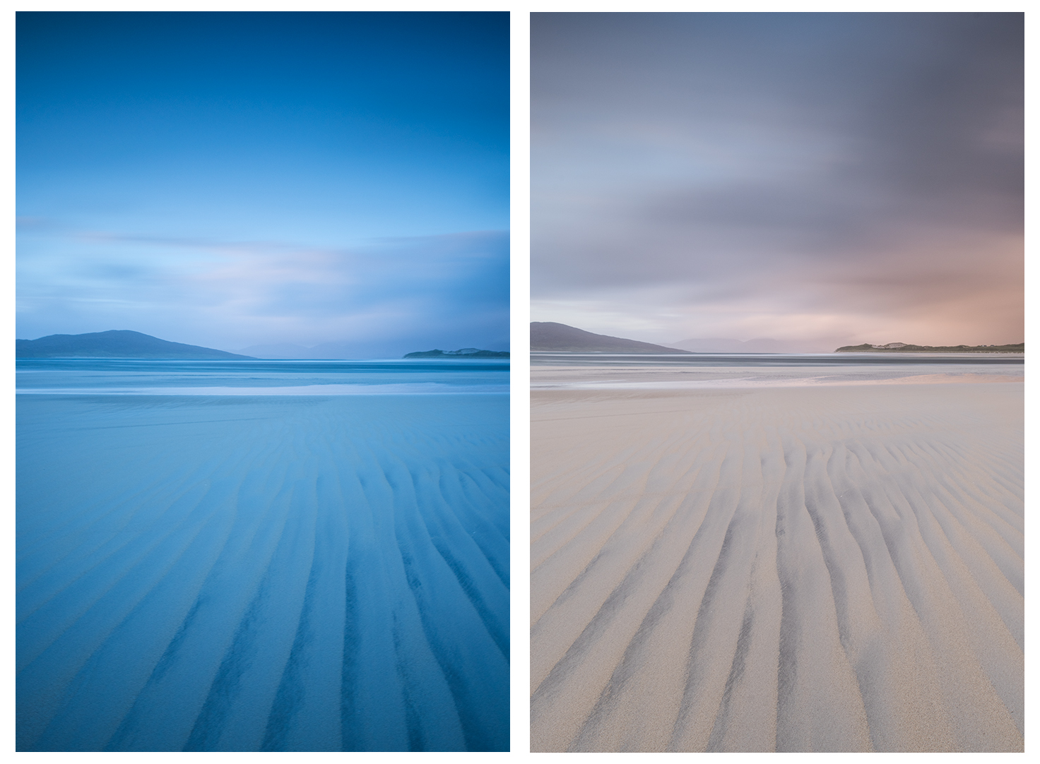Both images with 0.9 medium ND Grad. Left mage with Big Stopper and right with Pro Glass 10 stop. RAW files.