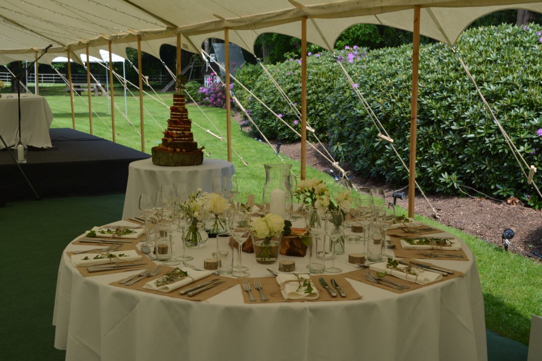 Marquee walls removed for wedding breakfast creating fantastic views of the grounds. The marquee walls were replaced for the evenings dancing and entertainment.