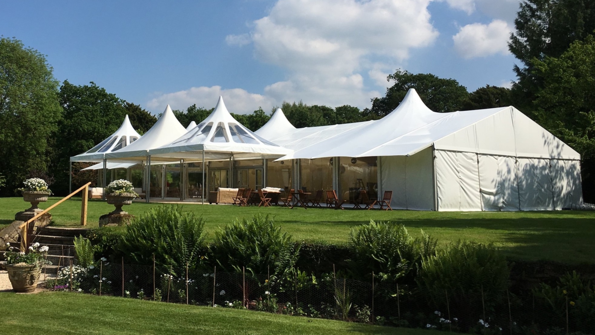 Clearspan Marquee with peaked roofs, We are able to add more interesting features to the usual 'White Box Marquee'.