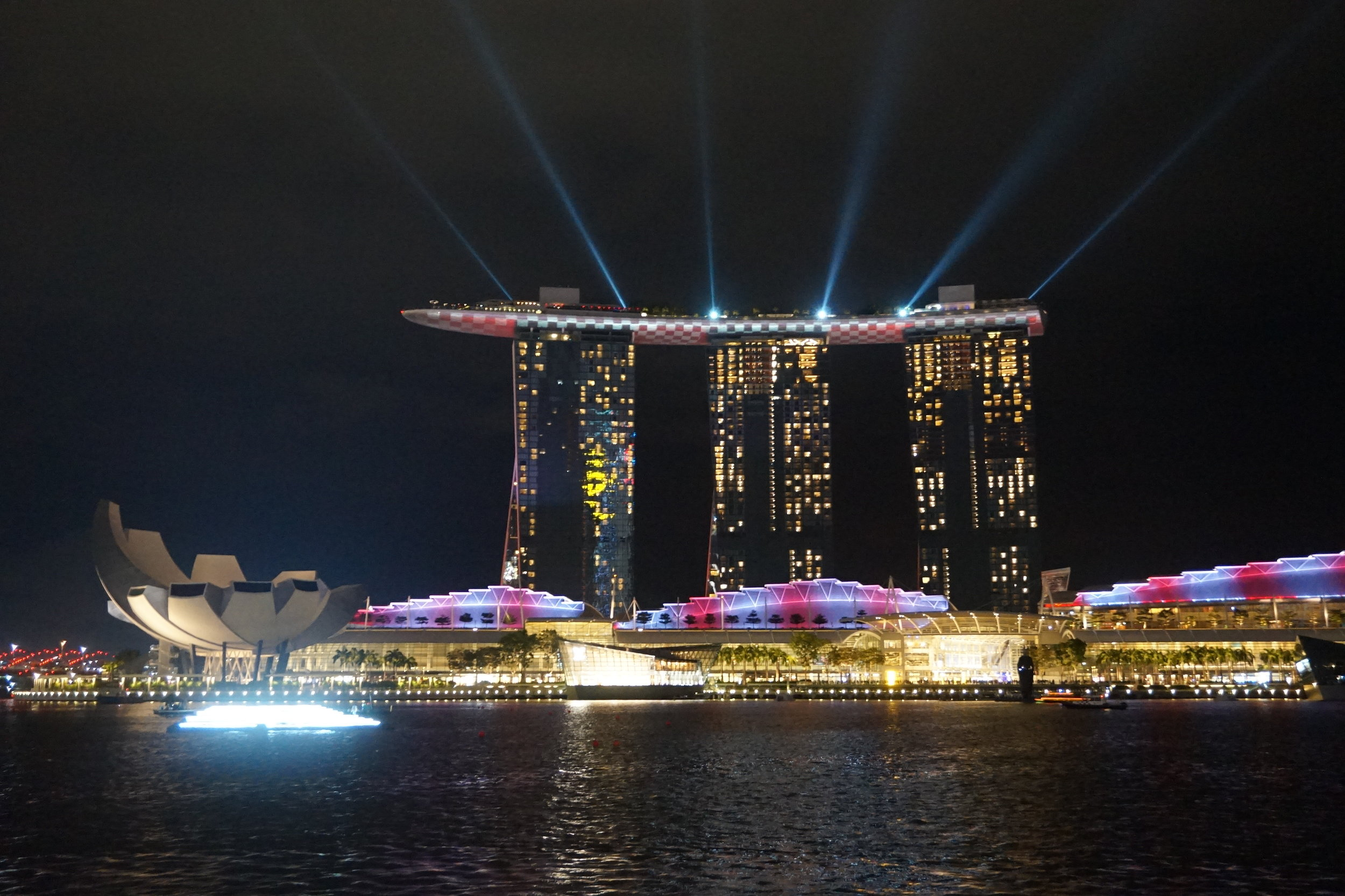 At the Singapore Grand Prix the Marina Bay Sands hotel is lit up like a flag