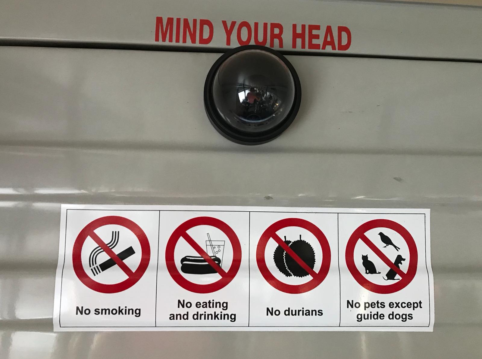 Check out this sign on the MRT on your next private tour in Singapore