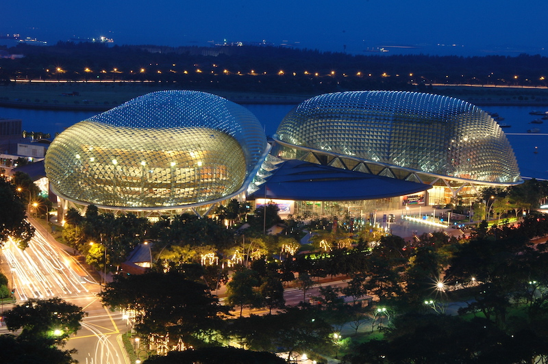 "The view of the ""Durians"" by night."
