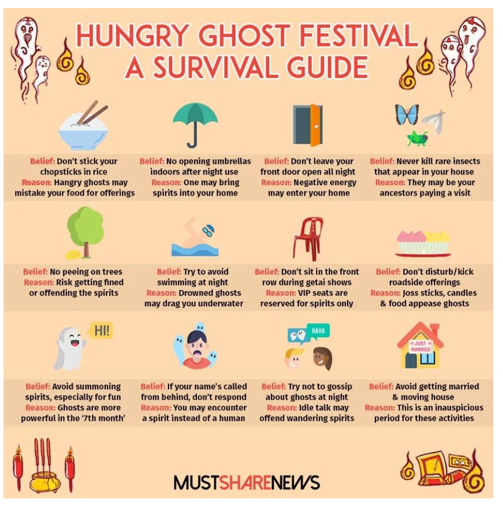 Here are some do's and don'ts for you during the Hungry Ghost Festival!