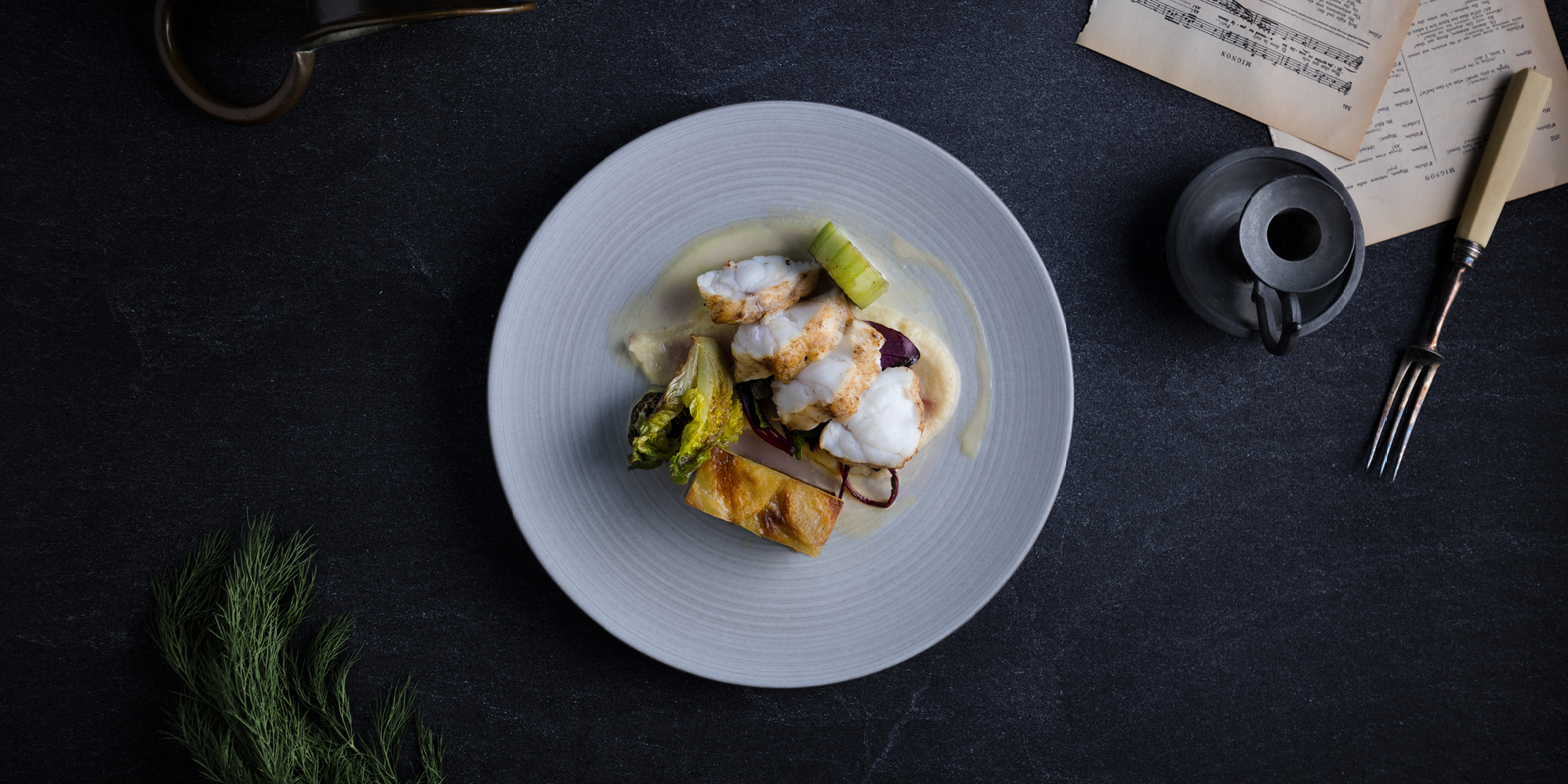 The Grahamston I Scottish Monkfish served with celeriac, truffle pomme Anna, burnt cucmber & lemon butter sauce