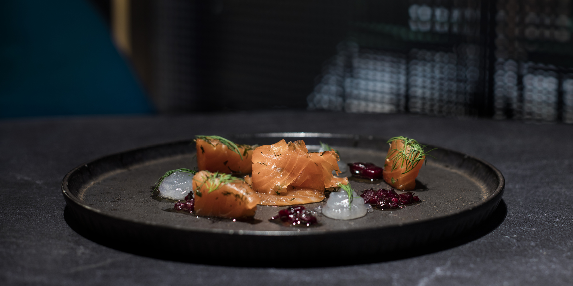 The Grahamston I Glasgow Gin cured Scottish Salmon served with tonic gel, torched cucumber, beetroot & dill