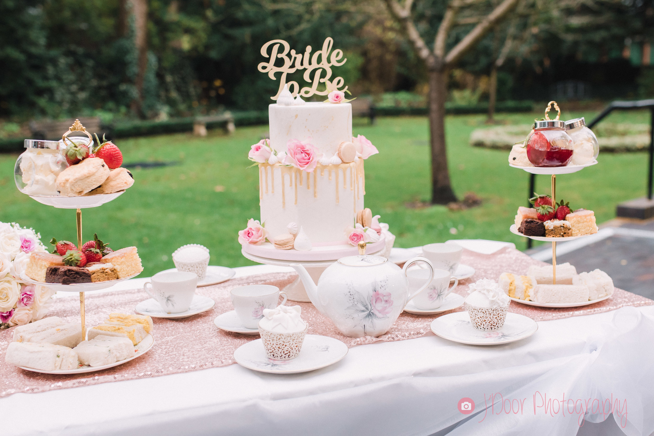 Bride to Be Cake by Jo Harper at Jo Harper Cake Company, Afternoon Tea set by Carly's Afternoon Tea