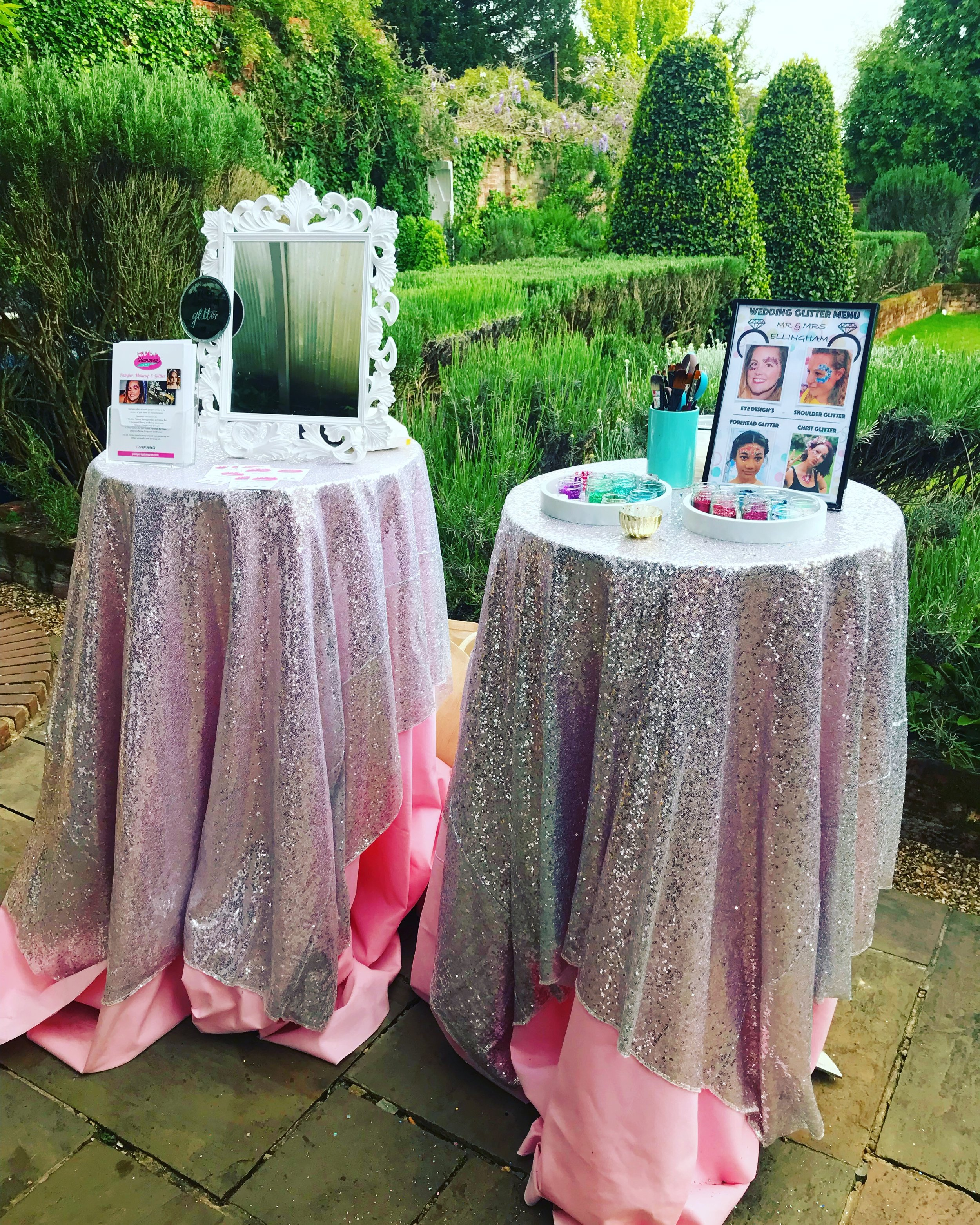 THE SPARKLE BAR - This table is full of SPARKLE, we have numerous coloured sequin table cloths draped over our table, we can display a personalised menu and if you have a theme we can find some items to go with it..We suggest this is fab for Weddings, Parties and Events.
