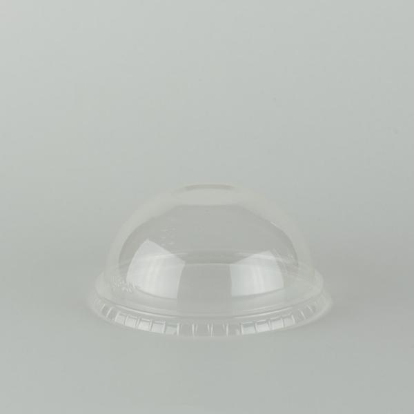 Tapa cúpula transparente de PLA 96mm sin ranura para sorbito, encaja en vaso estándar.
