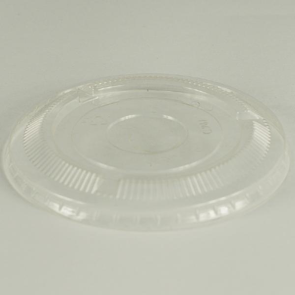 Tapa plana transparente de PLA 96mm sin ranura para sorbito, encaja en vaso estándar.