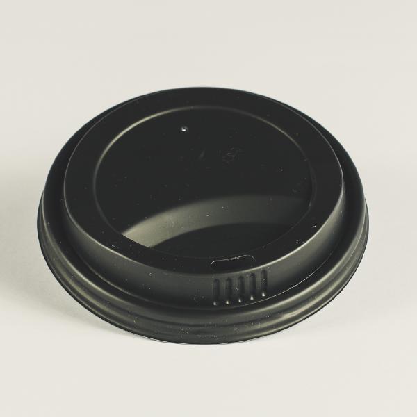 Tapa negra de CPLA para bebidas clientes, encaja en vasos de 12oz (350ml).