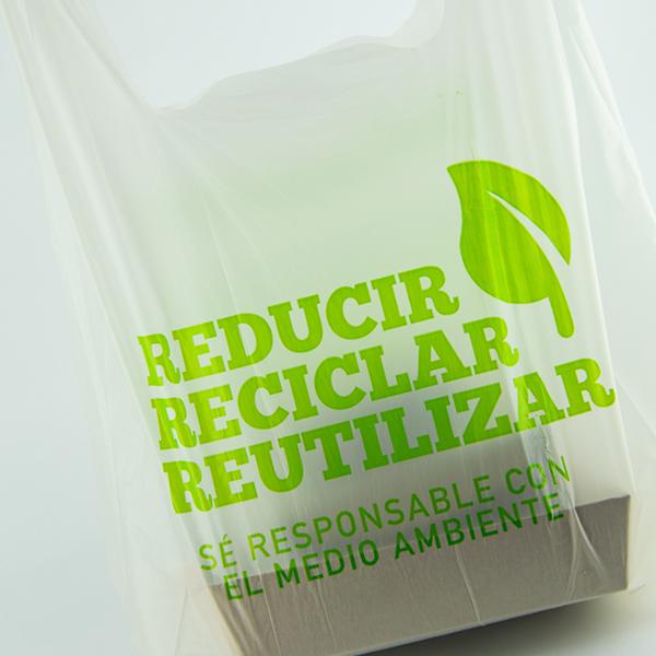 Bolsa camiseta compostable de 26x50 cm.