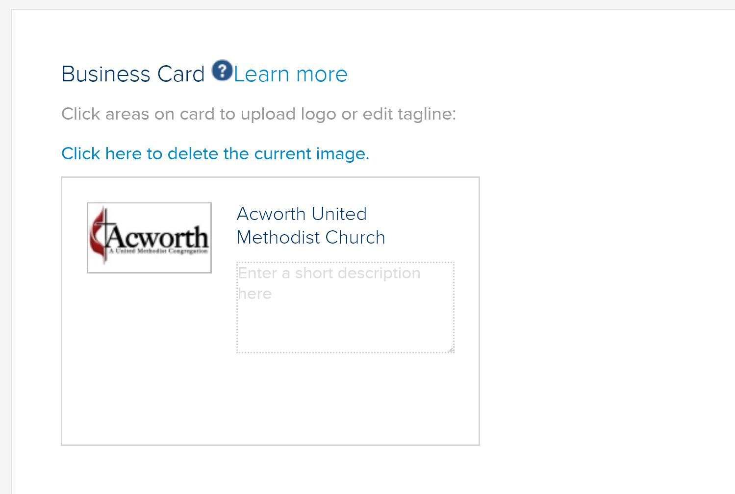 """Add a Logo to your Profile - Once logged in, an Acworth Business Association can scroll down the page until they reach the """"Business Card"""" Box. This box allows users to add in their company logo. Logo sizes should remain under 1024 X 1024 & MUST be a .JPEG so they display correctly."""