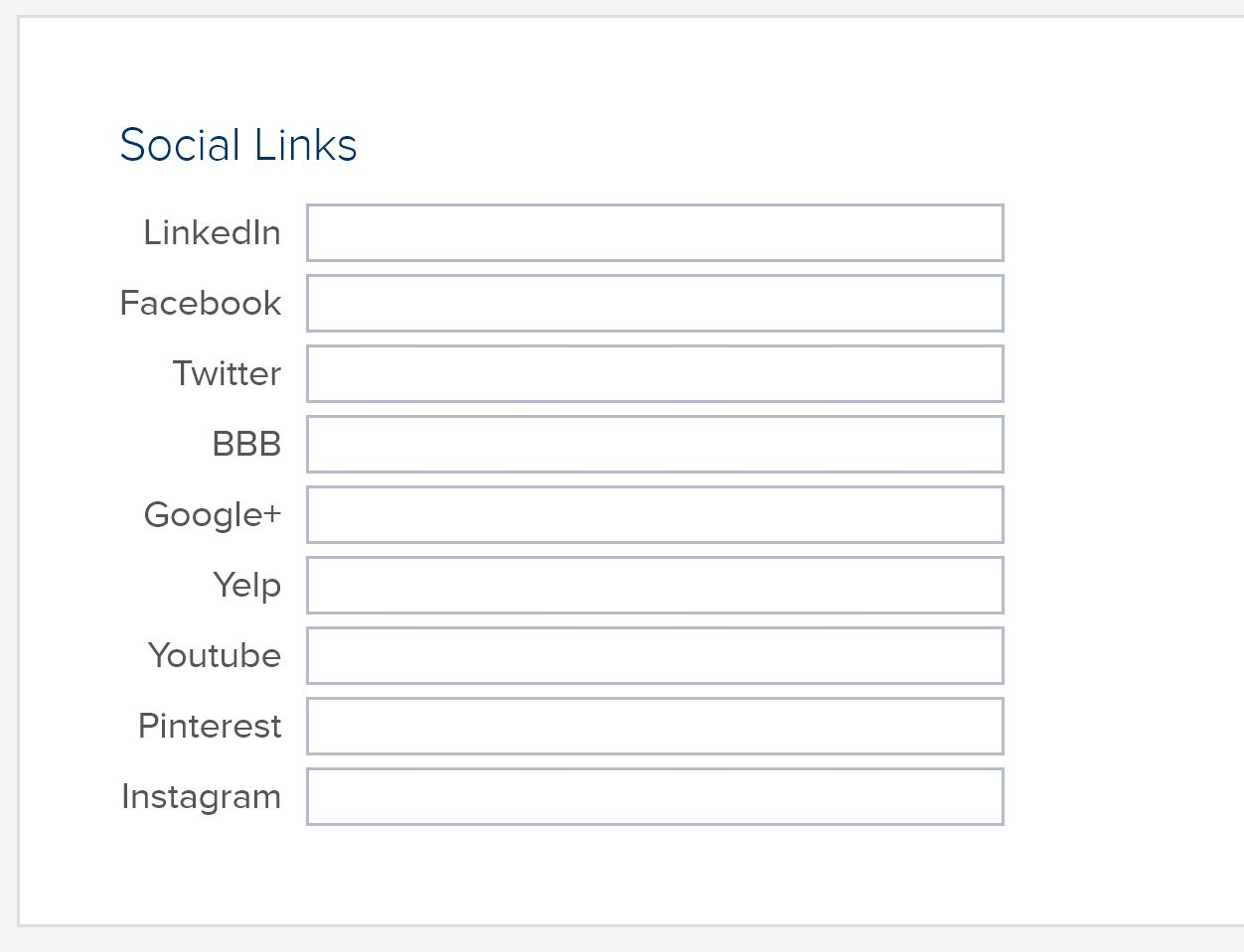 """Link your Social Media - Once logged in, an Acworth Business Association can scroll down the page until they reach the """"Social Links"""" Box. This box allows users to add in their company Social Media profiles for contact & sharing purposes."""