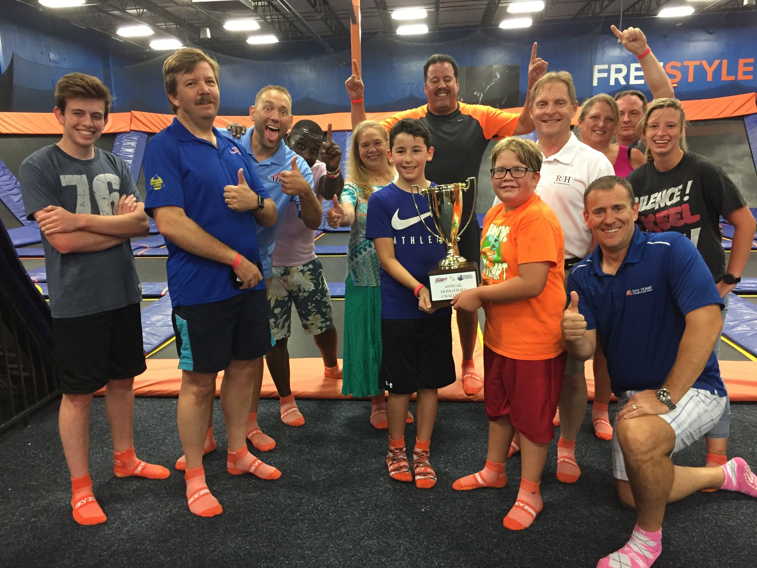 """2018 President David McClanahan: """"We had a special Alive After Five in June as well. We hosted our friends at the Kennesaw Business Association at the second annual ABA-KBA Dodgeball game at Skyzone trampoline park. After a hard-fought battle, ABA was able to claim victory. Not bragging. (…well maybe just a little J) More importantly, a great time was had by all. We always enjoy networking and doing business with our amazing friends and neighbors in Kennesaw."""""""