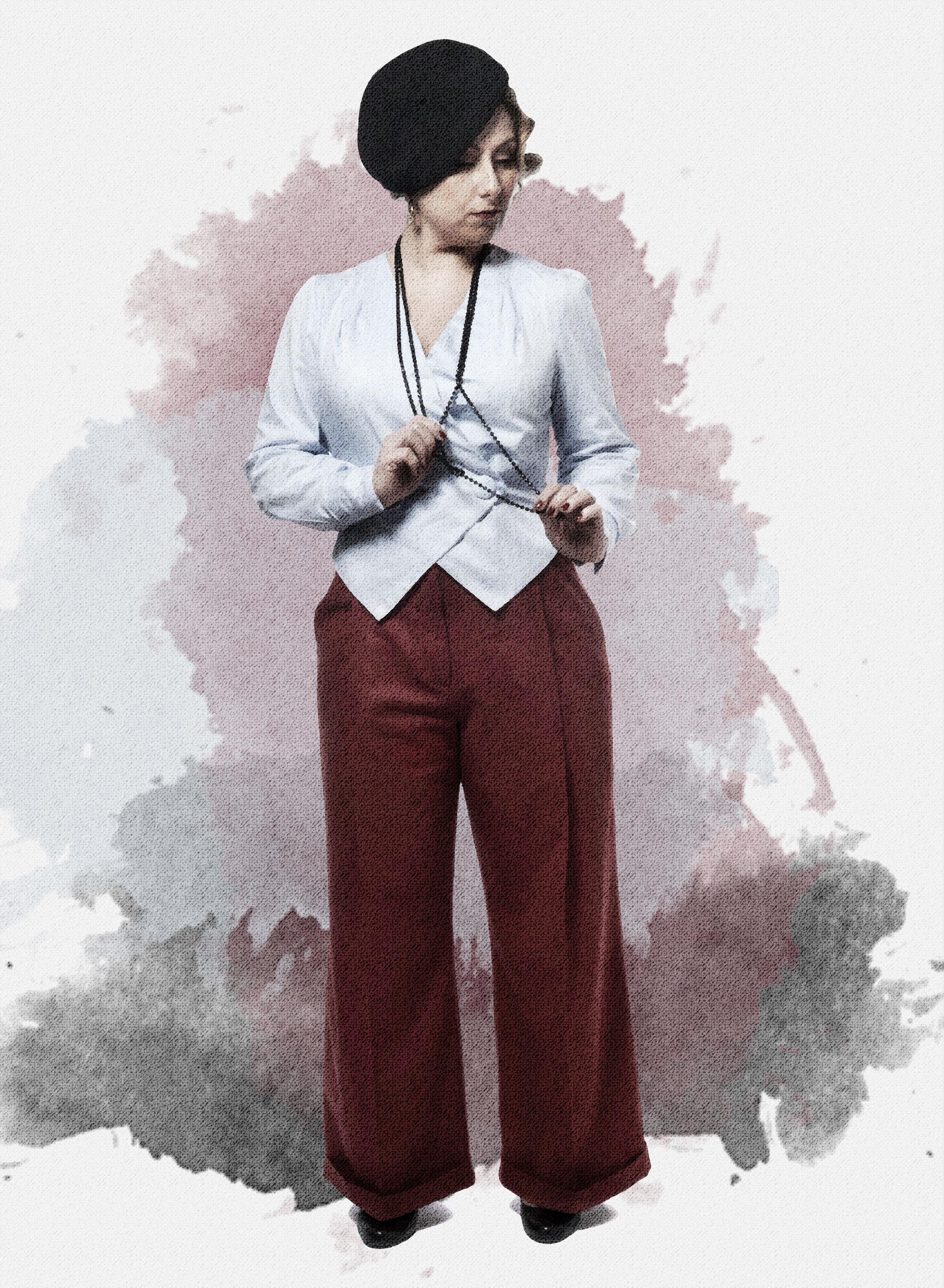 No. 14 Madrid - Disse bukser er inspireret af 1940ernes maskuline udtryk i kvindemoden. De er højtaljet, har et dybt læg, lommer og gylp. Dette er en helt klassisk vig buks med alle de klassiske detaljer fra herremoden, forskellen er at disse sidder smukt på en kvindekrop.