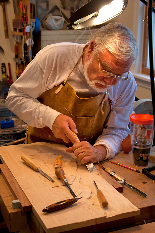 """Jim Lauritsen - Stone and Wood CarvingJim began his love of woodworking while watching his grandfather, a master carpenter, work in his wood working shop. After Jim inherited his grandfather's tools he began to slowly to hone his own skills. He was particularly drawn to the wood lathe and hand carving. More recently Jim expanded his skills to include working in stone, which also meant expanding his workshop. He is especially drawn to simple almost abstract forms and considers the work of sculptors Barbara Hepworth, Constantin Brancusi, Henry Moore and native American sculptor Allan Houser as his inspirations. Jim is an instructor for an online course from Mansfield University and is a retired Library Media Specialist from the Gettysburg Area School District. Jim has degrees from St. Thomas University and Barry University in Miami, Florida and Shippensburg University in Pennsylvania.""""Often my works are pre-determined by the size of the wood or stone I obtain. I spend time observing the raw materials before I take tools in hand to carve or chisel."""""""