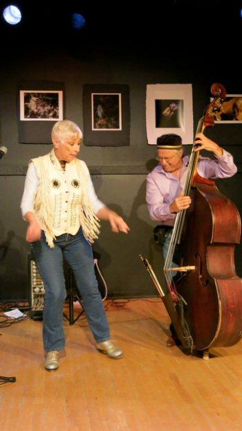 Brenda Bufalino, tap and vocals; and Joe Fonda, bass