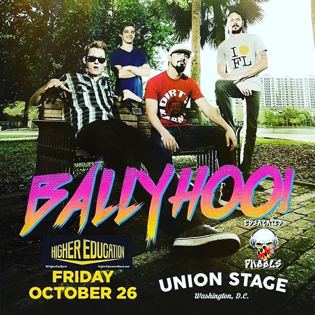 WE ARE PUMPED TO ANNOUNCE Oct. 26th we're back at it with our brothers @highereduband opening up for @ballyhoorocks @unionstage in DC. We have tix in hand $20 for GA, message us for tickets! #rockreggae #dcnightlife #mdtakesdc