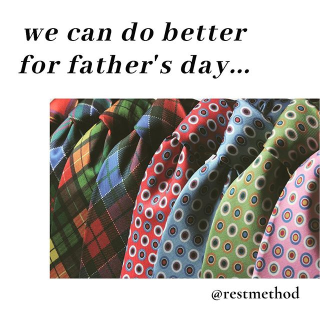 "We're all tied up 😉 by gender norms, and how they limit the ways we connect. This is so apparent 😉 in conventional gifts and messages about Father's Day. Many of the dads I see for body-mind practices, what they want is time... for self care and rest, for family and social time. Well that's true for many of us 😊... regardless of gender or parenthood. … Dads: Gift yourself— or pitch to your family, as a great ""dad's time"" gift— time to connect with other dads, focus on pain relief + tips for self-care, safe movement, and feeling better in your body. … In the #sfbayarea you're welcome at my July event:  Simple Tools for Pain Relief: Strength + Alignment for Dads A ""Just for Dad! Workshop"" @naturalresourcessf ... Step 1: Sign up (link in bio or https://urlzs.com/pkdrm) Step 2: Enjoy! We'll see you on July 13th (Saturday) at 10:30 am. No neckties needed. Wear your comfy clothes. … Not a Dad? Or can't make the workshop? Visit me at rest-method.com to see other ways we can work together."