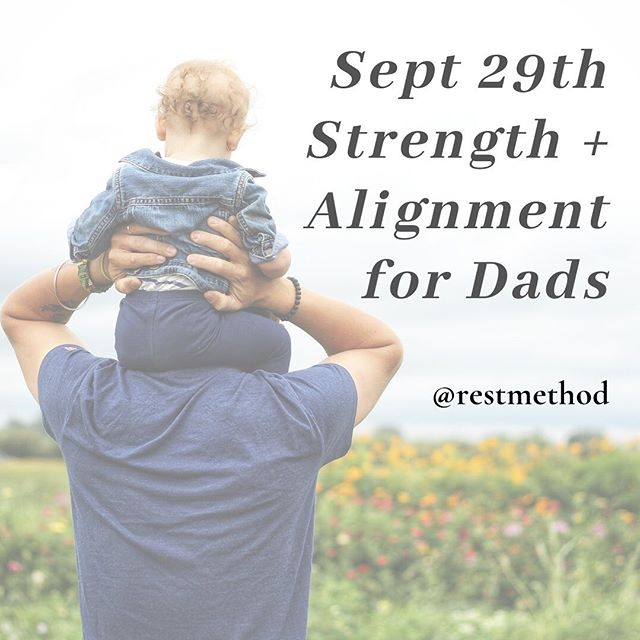 "🙏🏼 Excited to bring ""Dad Yoga"" Strength + Alignment for Pain Relief. Offered as a benefit for @recess.sf 11:00am on Sun Sept 29th! Registration open now...⬇️ link below"