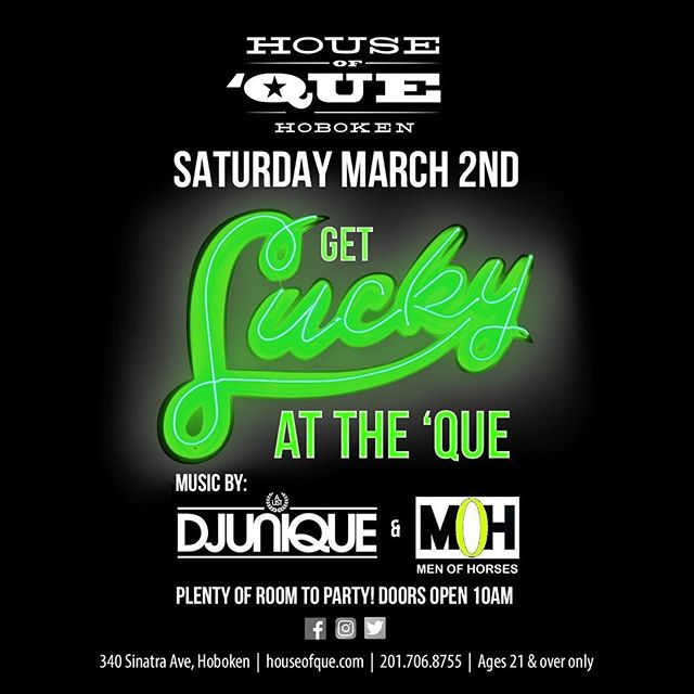 Today's the day to get lucky at the 'Que! Get here early and stay late 💪🍀 . • Doors open 10am! • 21+ Only . www.houseofque.com  #HOQ #HouseofQue #Foodie #NJFoodie #Foodstagram #awesomesauce #Hoboken #HobokenNJ #HobokenNoJokin #WeehawkenNJ #WeeHawken #BeerTowers #NJ #NewJersey #HobokenRestaurant #Stpattys