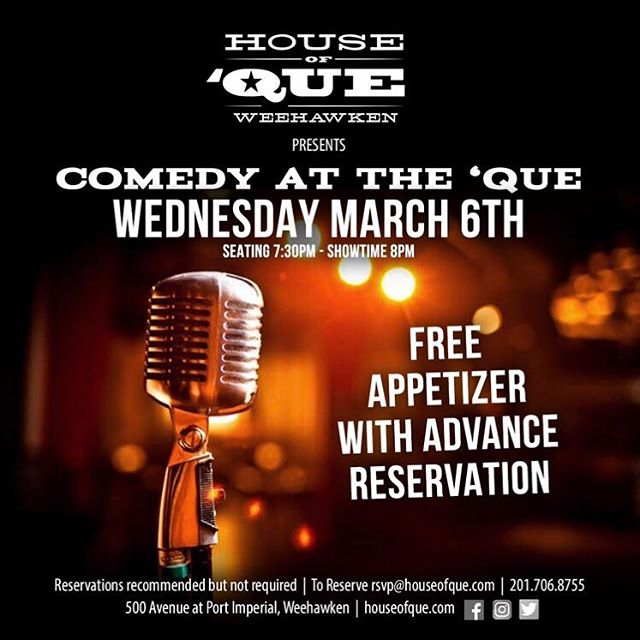 COMEDY NIGHT! Make sure you don't do any ab workouts today because you're going to laugh so hard your stomach WILL hurt! . Seating: 7:30 PM Showtime: 8 PM . Free Appetizer w/ an Advance Reservation Reserve here: rsvp@houseofque.com . www.houseofque.com  #NJBarScene #WeehawkenNJ #Weehawken #Hoboken #HobokenNJ #HobokenNoJokin #NJ #NewJersey #SportsBar #NJSportsBar #SportsBarsofNJ #HobokenRestaurants #mixer #mixology