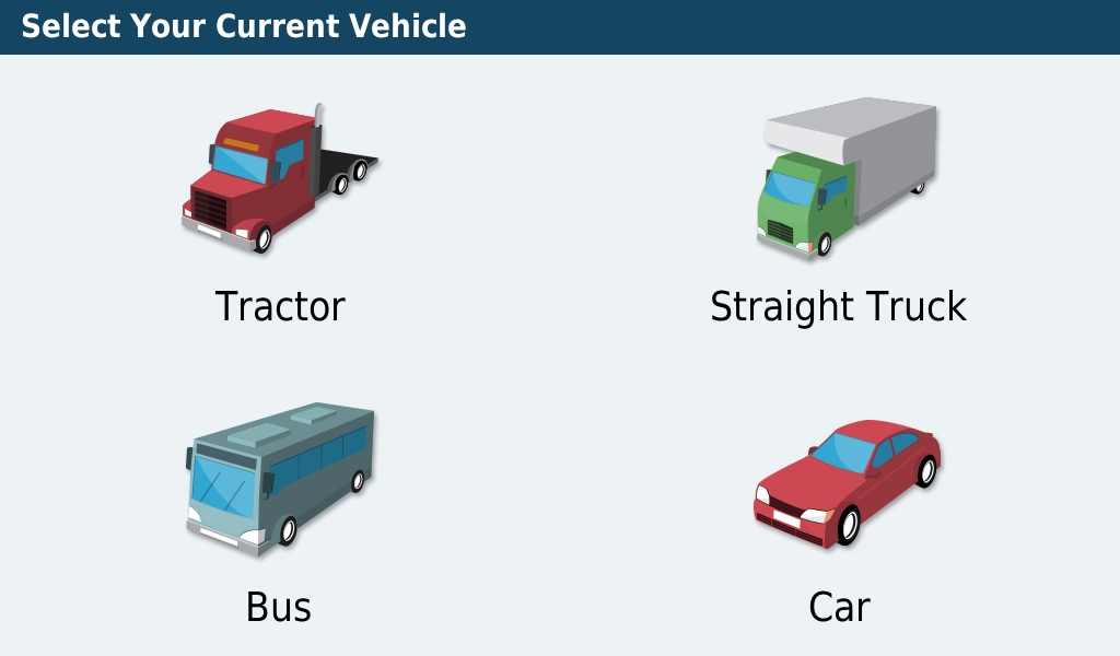 4.  This is where you'll be selecting your vehicle and setting up your profile.