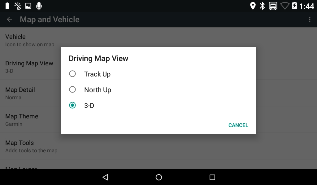 6.  You can also change the map style for the GPS Map. 3-D is the default view.