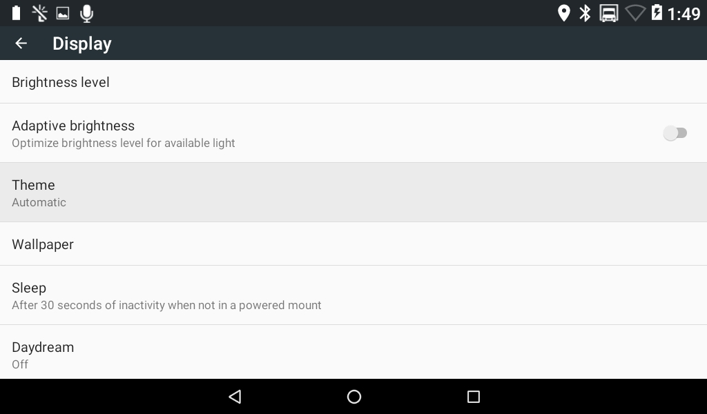 3.  The  Theme  option is another setting to combat the device annoying the driver while night driving as well as aiding in personal preference.