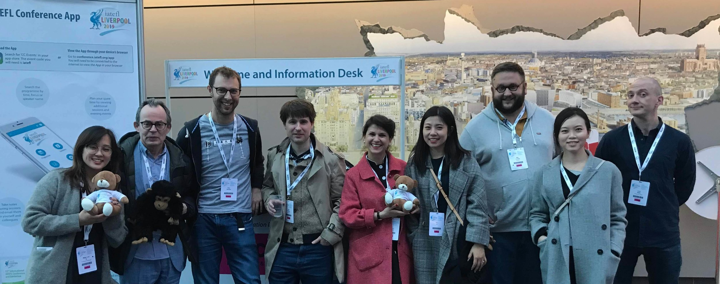 The gang meeting George Pickering (and Charlie) at IATEFL 2019 (that's me on the far right!)