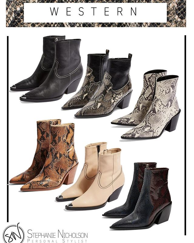 Which are your favourite pair? Western style boots are a massive trend for Autumn/ Winter this year🍂 Make sure your colder weather boots make a statement whilst being versatile.  All 6 of these pairs of boots are currently available to buy in Topshop 🖤 . . . . . #personalstylist #instagood #instastyle #yorkuk #yorkshirefashion #discoverunder1k #cowboyboots #autumn #winter #2019 #ootd #outfitinspiration #snake #snakeskin #western #styleblogger #style #businessowner #boots #topshop #topshopstyle #highstreet #inspiration #feelgood #statementpiece
