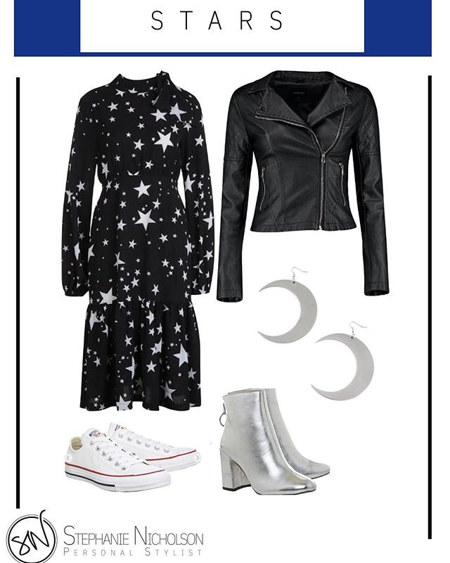 How nice are these earrings? 🌒 A night sky inspired look for an easy transition from day into night. Black and silver make a really simple but show stopping look 🖤 Dress £25 Boohoo Biker jacket £28 Boohoo (sale) Moon earrings £19.99 Killstar Leather Converse £59.99 Office Silver Boots £22 Office (sale) . . . . .  #yorkuk #yorkshirefashion #personalstylist #discoverunder1k #imageconsultant #stars #blackismyhappycolor #moon #ootd #styleblogger #style #instastyle #crescentmoon #converse #daytonight #inspiration #autumn #standout @steph_nicholson_styling #autumn @boohoo @converse @officeshoes @killstar