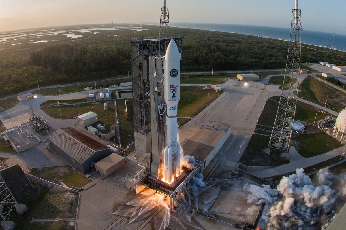 The mission was launched aboard an Atlas V Evolved Expendable Launch Vehicle (EELV) 551 configuration vehicle, which includes a 5-meter large Payload Fairing (PLF). The Atlas booster was powered by the RD AMROSS RD-180 engine. Aerojet Rocketdyne provided the five AJ-60A solid rocket boosters (SRBs) and RL10C-1 engine for the Centaur upper stage.
