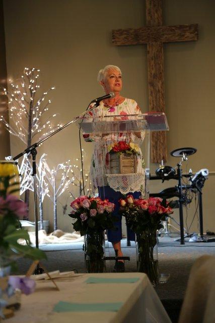 Deborah McInnes sharing at Mother's Day